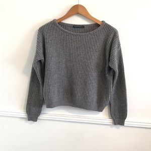 Brandy Melville One Size Gray Ribbed Knit Sweater
